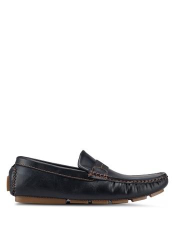 UniqTee black Driving Shoes with Elastic Web 923D3SH4666191GS_1
