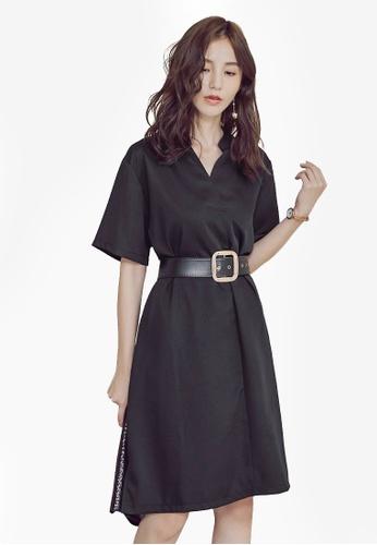Yoco black V-Neck Dress With Belt 5D9B9AA979E668GS_1