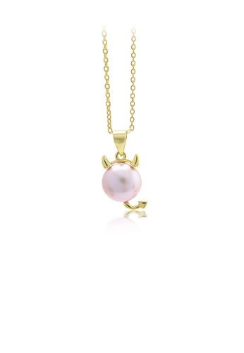 Glamorousky pink 925 Sterling Silver Plated Gold Simple Cute Calf Pink Freshwater Pearl Pendant with Necklace B649CAC49BAC1EGS_1