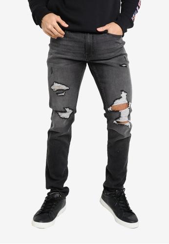 Hollister grey Skinny Fill Knee Destroy Jeans 4B31FAA9195A2CGS_1