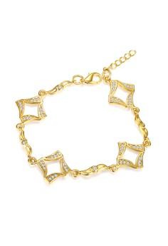 Treasure by B&D B002-A Retro Geometric Pattern Plated Chain Bracelet With Zircon Inlay