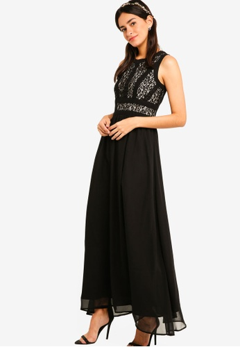 ZALORA black Bridesmaid Lace Panel Maxi Dress 0EEBCAA6984A7BGS_1