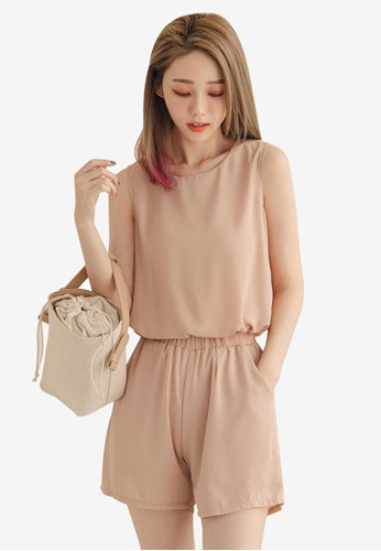 Tokichoi brown Basic Chiffon Top With Shorts Set F5947AA613C0FFGS_1