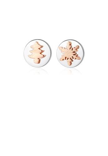 Glamorousky silver 925 Sterling Silver Simple Temperament Rose Gold Christmas Tree Snowflake Geometric Round Stud Earrings B80B1AC45B8863GS_1