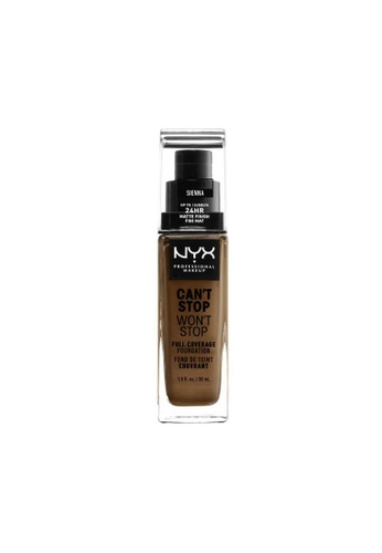 NYX Professional Makeup brown NYX Professional Makeup Can't Stop Won't Stop 24HR Foundation - SIENNA B009CBEC8F8033GS_1