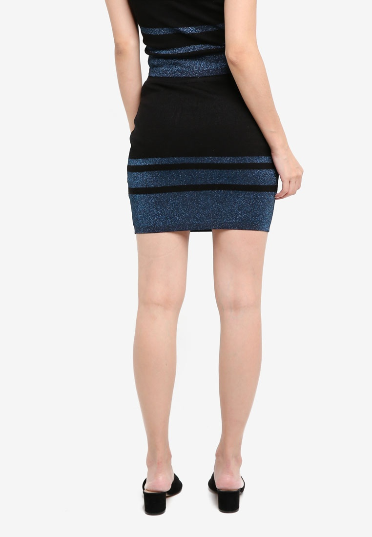 Black Bodycon Borrowed Rose Something Knitted Skirt Colorblock xzXtwzA1q