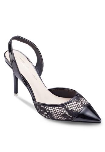 蕾絲尖頭繞踝高跟鞋,esprit 台灣官網 女鞋, 細帶高跟鞋