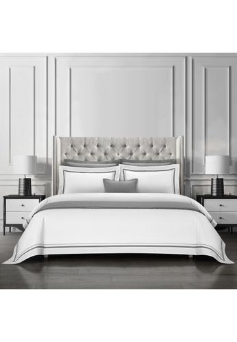 Epitex Epitex Hotel Collection HC2301-7 1200TC White / DK Grey Bedset. 87C98HL0B4A6BEGS_1