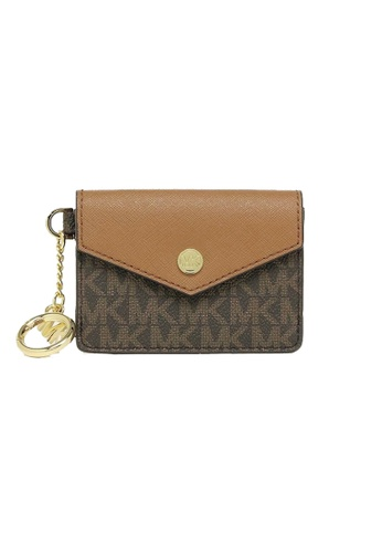 MICHAEL KORS brown and beige Michael Kors Kala small Card Holder With Key Ring 35F0GW9D1B Luggage F3C40AC08BC50FGS_1
