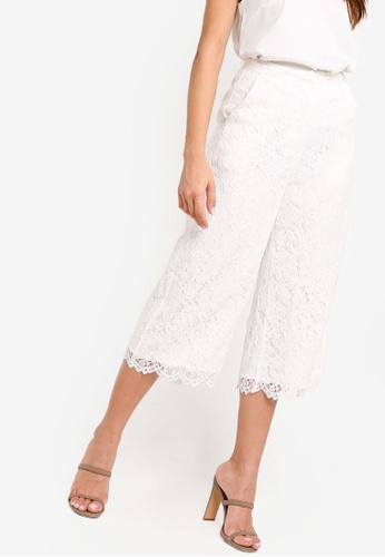 ZALORA white Lace Wide Leg Pants FB21FAA918AACDGS_1