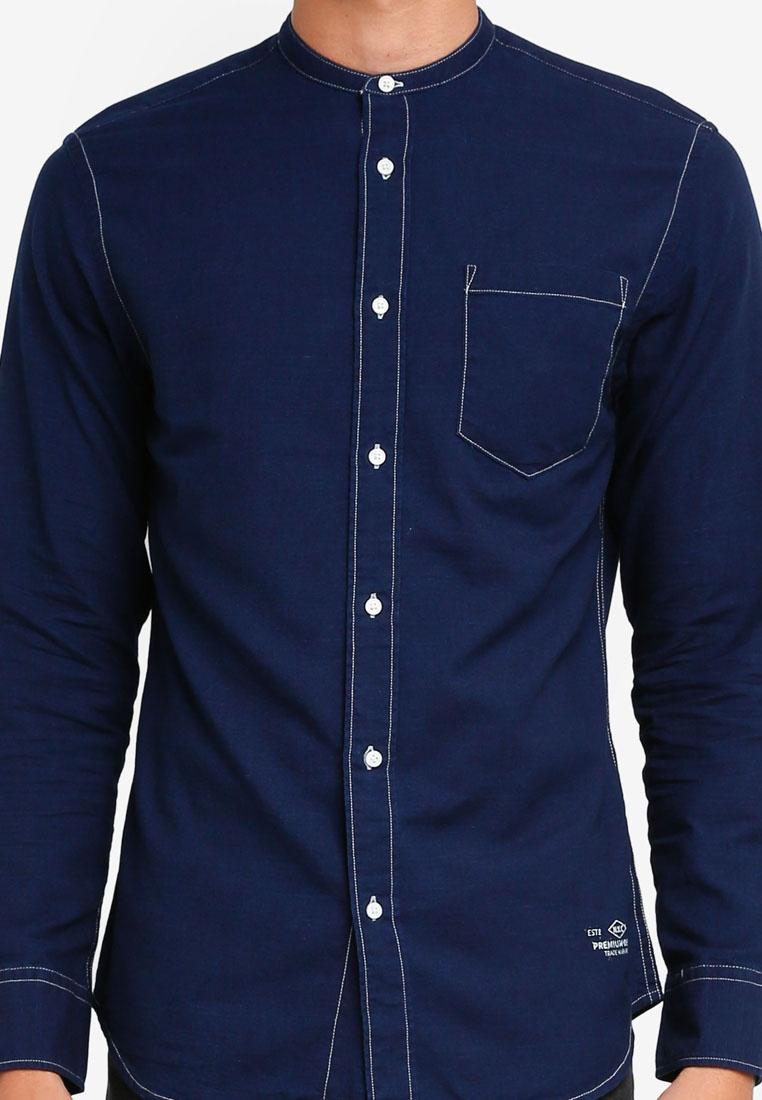 Shirt Fit amp; Navy Jack Long Jones Denim Blazer Slim Sleeve Brad 6txCFgqww