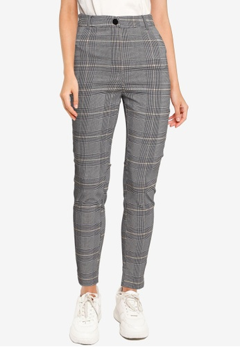 Miss Selfridge black Monochrome Check Trousers 2539EAA16687B7GS_1