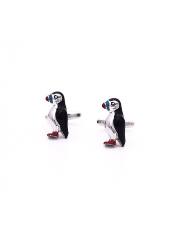 Red Stag And Hind multi Red Stag And Hind Colourful Rhodium Puffin Cufflinks 81D41AC4963AECGS_1