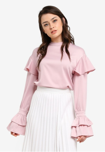 Zalia pink High Neck Frill Sleeve Top 32400AAF8F03F7GS_1