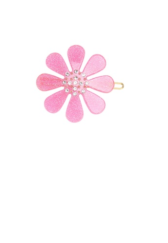 Glamorousky white Fashion and Simple Pink Flower Hair Clip with Cubic Zirconia A620AAC47EC51DGS_1