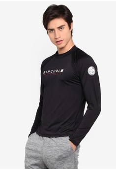 1bfe6416473fe6 Rip Curl black Shockwave Relaxed Long Sleeve Rashguard 3BF89US895D07EGS_1