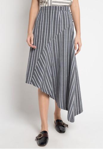 IKAT Indonesia by Didiet Maula grey Alka assymmetrical Skirt F105EAA59BB940GS_1