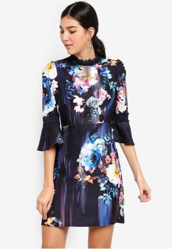 Little Mistress navy Floral Blur Shift Dress 53AB1AA1E23322GS_1