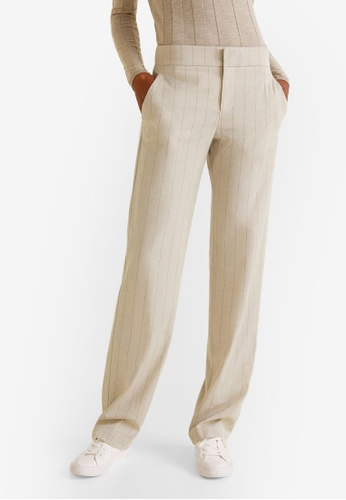 85ffcbd5b7 Mango beige Striped Suit Trousers 18412AAC57C8E0GS 1