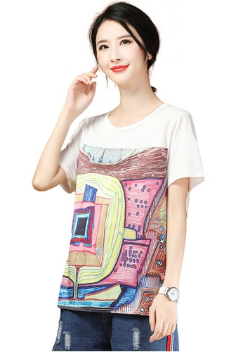 A-IN GIRLS white Fashion Round Neck Printed T-Shirt 35178AA909D787GS_1