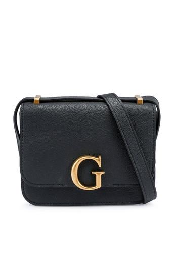 Guess black Corily Convertible Crossbody Flap Bag BE646AC44E9D8CGS_1