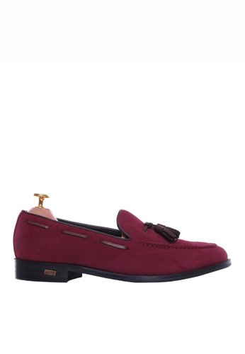 Zeve Shoes red Zeve Shoes Tassel Loafer - Suede Red Violet 2D22BSH0E2DB9EGS_1