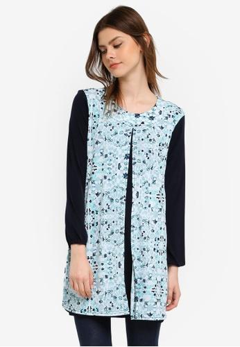 Zariya blue Printed Nursing Blouse B82D8AA6FE8588GS_1
