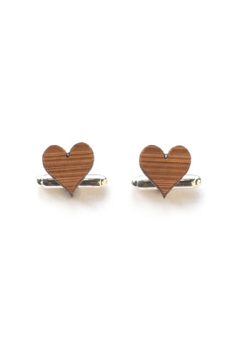 Splice Cufflinks brown Handmade Love Heart Cufflinks SP744AC94CUJSG_1
