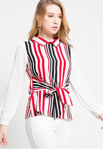 FAME red Stripped Blouse FA157AA66YKZID_1