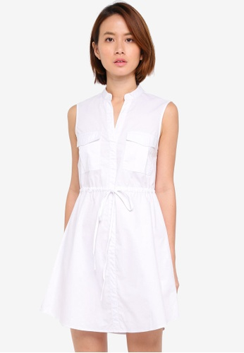 ZALORA white Pocket Front Sleeveless Shirt Dress 53E1AAA046E0A0GS_1