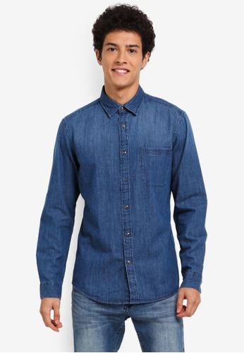ESPRIT blue Woven Long Sleeve Shirt 46EBBAAB25B975GS_1