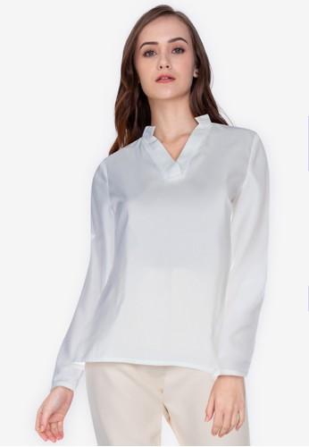 ZALORA WORK white Mandarin Collar Rolled Up Sleeve Shirt 2F884AAA50EEACGS_1