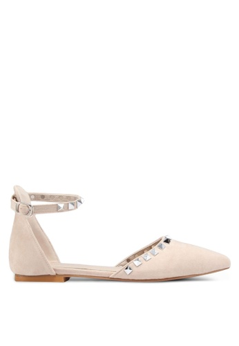 Something Borrowed beige Studded Ballerina Flats With Ankle Strap 04070SH4290A39GS_1