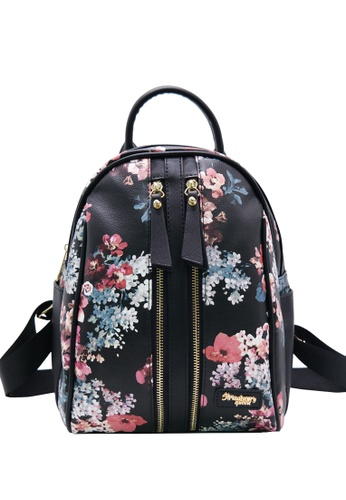 STRAWBERRY QUEEN black Strawberry Queen Dual Front Zipper Floral Backpack - Candy (Floral E, Black) EC944ACCE73324GS_1