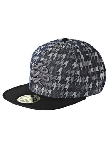 Chronomart black and blue Baem Korea Houndstooth Pattern Denim Unisex Snapback K-Pop Fashion Cap CH783AC95WXOPH_1