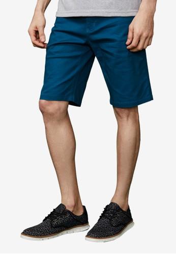 質感型男。基本休閒彈性esprit香港門市短褲-02308-藍綠, 服飾, 短褲
