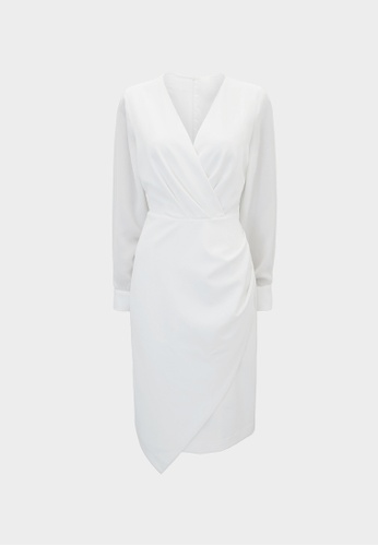 Pomelo white Asymmetrical Surplice Dress - Off White 9E22CAA5AC2826GS_1