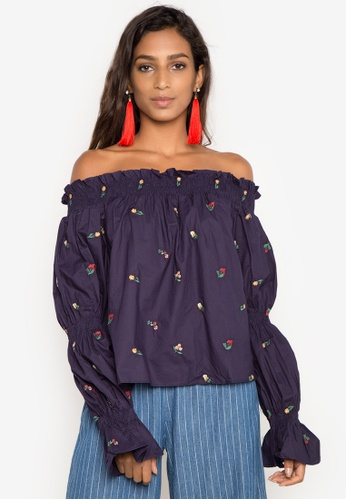 Spring Fling navy Off Shoulders Embroidered Top SP673AA0IPFKPH_1