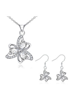 Treasure by B&D S047-D Plated Necklace Earrings Set Clover Pendant Zircon Embellished Jewellery Set