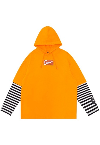 Mini cream orange Layered logo hoodie 25320AAD05DE7CGS_1