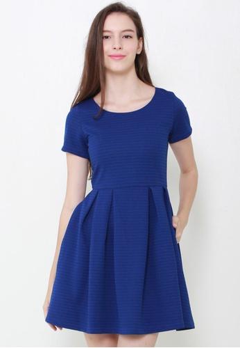 Leline Style blue Maci Textured Skater Dress LE802AA27GCMSG_1