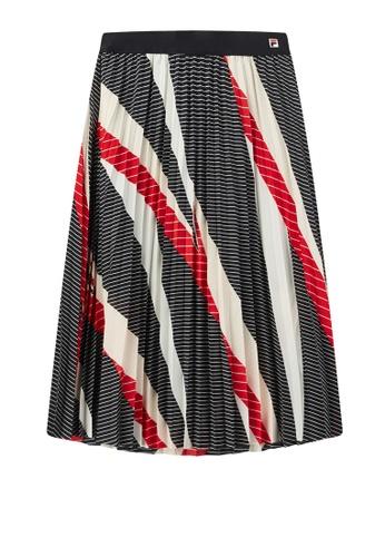 FILA navy F-box Logo Color Blocks Striped Pleated skirt ACD9DAA9E2D71FGS_1