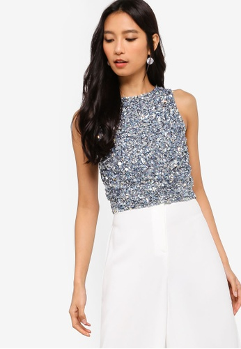 06411871efd849 Shop Lace & Beads Fazel Embellished Crop Top Online on ZALORA Philippines