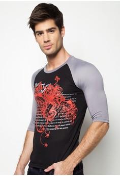 Lincon Quarter Sleeve Graphic Tee Raglan Shirt