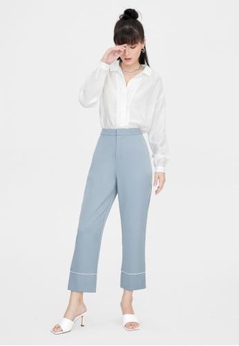 Pomelo blue Basic Trim Pencil Pants - Blue 2D46DAAA084D1AGS_1