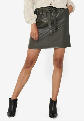 ONLY grey Rigie High Waist PU Paper Bag Skirt 04EB1AA28D1C34GS_1