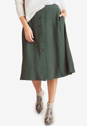 Violeta by MANGO green Plus Size Polka Dots Midi Skirt 6C757AAC6093F5GS_1