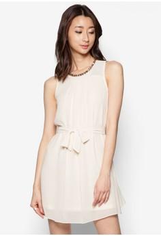 String Of Beads Neckline Chiffon Sleeveless Dress