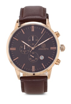 987cbbde4e45 Massa Collections brown Perfecto Brown Leather Watch 37966AC1C5543AGS 1