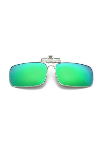A FRENZ green and blue Full Rim Polarized UV400 Flip-Up Large Clip On Sunglasses DE8F7GL9AEF473GS_1